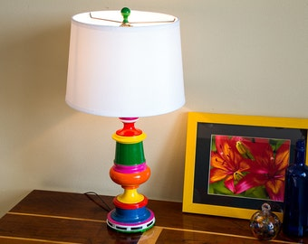 Upcycled Green Multi-Colored Handpainted Table Lamp