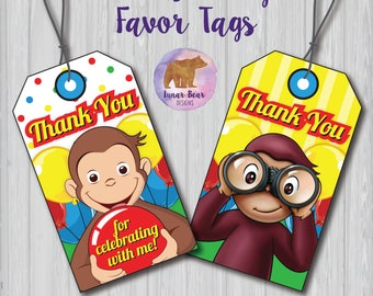Curious George Party Tags, Curious George Favors, Curious George Favours, Thank You Tags, Curious George Party Decoration, Favor Tags