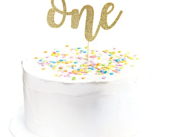 Glitter One Cake Topper Calligraphy One Cursive One Script One First Birthday Pink & Gold Birthday Gold Birthday Cake Topper