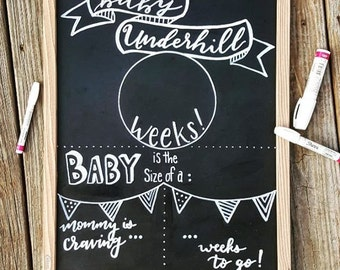 chalkboard pregnancy etsy. Black Bedroom Furniture Sets. Home Design Ideas