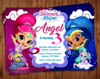 SHIMMER AND SHINE Digital Personalized Invitations - Shimmer & Shine Birthday Party Invitations - Shimmer and Shine Digital Invites