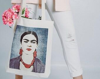 TOTE BAG - Organic cotton tote bag, Frida Kahlo tote bag, Boho-Hippie tote bag, Customized tote bag, Trendy tote bag