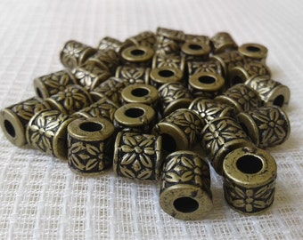 Small barrel with flower antique brass beads 25 pieces