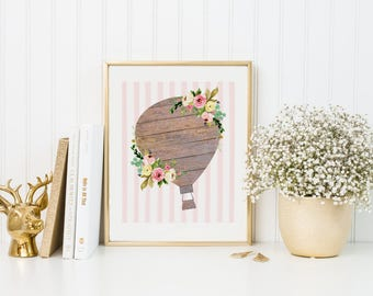 Hot Air Balloon Print-Wood Floral Hot Air Balloon-Girl Nursery Print-Pink White Stripes-Printable Art-Kids Room-Instant Download-Wall Art