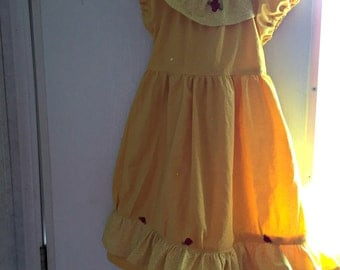 Yellow Belle inspired Cotton Princess Dress, Sizes 6m-8