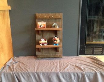 Rustic wood wall shelf small