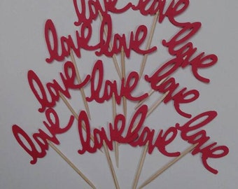 """Red """"Love""""  Party Picks, Cupcake Toppers, Food Picks"""