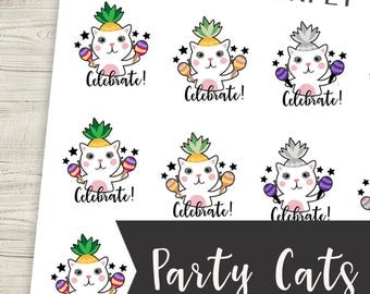 Party Celebrate Cat Planner Stickers