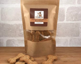 Natural Crunchy Dog Treats, gift, pet food, animal, chicken, cheese, peanut butter, honey, bacon, cookie