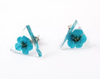Fleur Triangle Turquoise earrings - nature jewel resin flowered