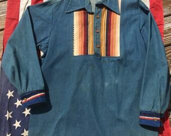 Amazing 70s Denim Indian Blanket Hippie Shirt by Shirt Language