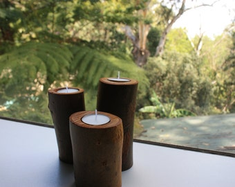 Set of 3 Timber Candle Holders - Tea light Candle Holder - Tree Branch