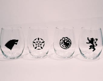 Game of Thrones Wine Glasses, Game of Thrones Gift, set of 4 Game of Thrones wine glasses
