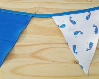 Whale Print Blue Fabric Bunting - 2.5m