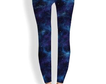 Yoga leggings-space, festival, blue, hippie, festival, boho, art leggings, yoga