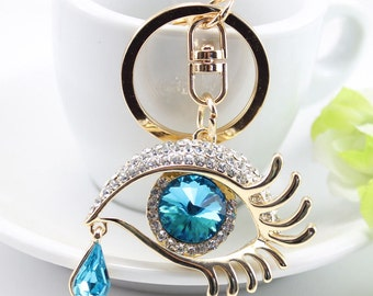Rhinestone Crystal Eye Keychain Car Pendant Handbag Jewellery