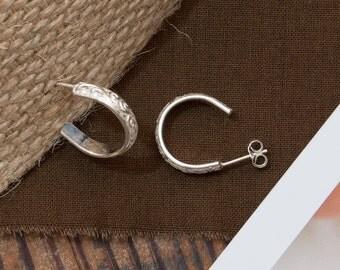 Embossed Sterling Silver 'C' Earrings