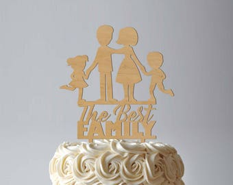 Best Family Cake Topper Rustic Wedding Cake Topper Silhouette Family Wedding Cake Topper Gold Silver Cake Topper Anniversary Mothers Day