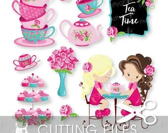 Tea Time cutting files, svg, dxf, pdf, eps included - cutting files for cricut and cameo - Cutting Files SVG - CT953