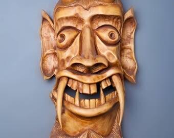 Devil mask, wood carved mask, wall decor mask, wall hanging mask, decorative mask, handmade mask, natural wood mask, masks, ritual mask