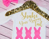 Baby Girl's Shake Your Bunny Tail Easter Outfit, Bodysuit, Toddler, Easter Outfit, Headband, Happy Easter, My First Easter, Gold, Pink