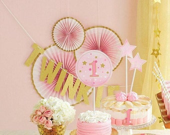 3 CT Pink and Gold Fan Decor Kit/ Deluxe Set Gold and Pink Fan Decor/ Fancy Pink and Gold Hanging Paper Fans/ Fancy Pink and Gold Decoration