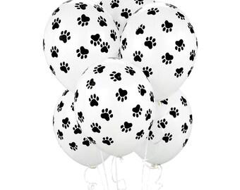 10 CT Paw Print Balloons/ Paw Print Party Decor/ Puppy Dog Balloons/ Cat Balloons/ Paw Print Party