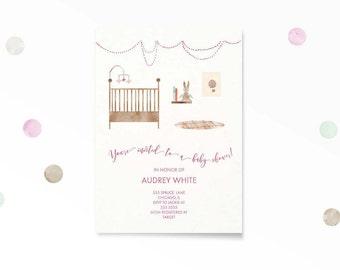 Baby Shower Invitation, Nursery Illustration  Baby Shower Invitation, Printable, Clouds, Baby Shower, Baby Girl, Illustration, Pink
