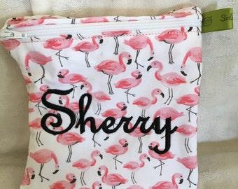 Flamingo, Reusable Sandwich Bag, Travel Bag, Make up case, Zippered sandwich bag, Snack Bag, Monogrammed Lunch, Large wet bag, washable bag