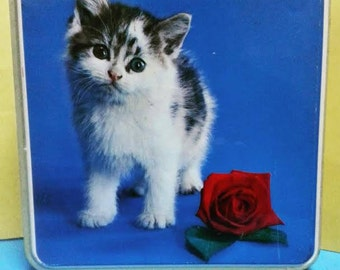 Vintage Biscuit Tin with Kitten and Rose