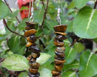 Arzhel - Earrings stone Tiger eye and Sterling Silver 925