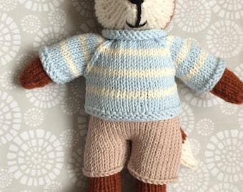 Hand knitted boy fox