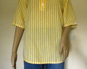 1970s Blair Yellow and White Striped Shirt