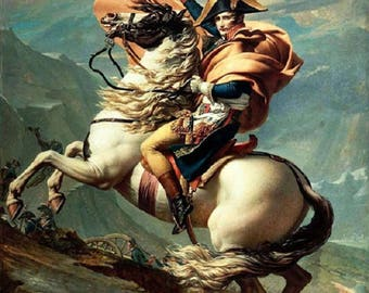 Napoleon Crossing the Alps-Painting of Jacques-Louis David- Museum Quality Reproduction