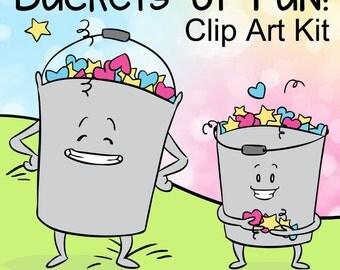 Buckets of Fun Clip Art, Bucket Clipart, Bucket List Clipart, Bucket Characters, Fill a Bucket, School Goal Clipart, Classroom Clip Art