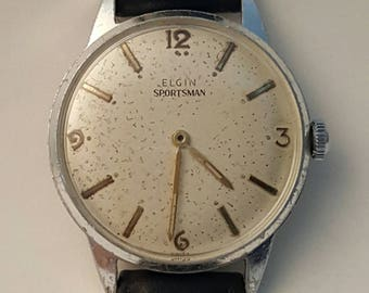 Special price for this Vintage ELGIN SPORTSMAN gentlemens watch dating to the early 1960's-------SERVICED------