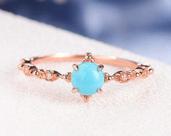 Turquoise Ring Antique Round Cut Engagement Ring Rose Gold Diamond Star Art Deco Twig Leaf Flower Anniversary Beaded Multistone Eternity