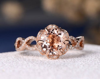 Engagement Ring Unique Morganite Wedding Women Infinity Bridal Set Unique Flower Shaped Rose Gold Diamond Halo Anniversary Gift Birthstone
