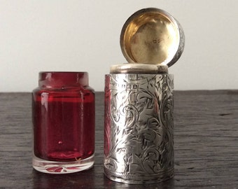 Sterling Silver & Ruby Glass Scent Bottle / Perfume Bottle / Hallmarked / Birmingham / C.E.W. / Williams