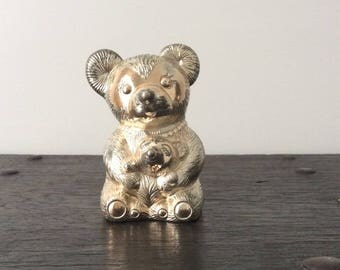 Vintage Bear & Cup Coin Bank / Piggy Bank / Money Bank / Metal