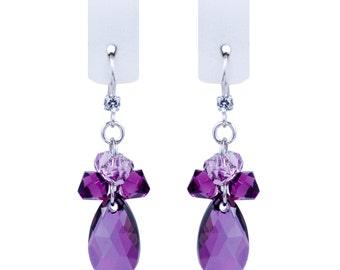 Purple earrings violet earrings silver earrings long earrings drop earrings round earrings circle earrings summer earrings bohemian earrings