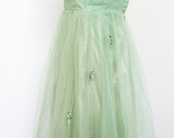 Vintage 50's Green Tule Party Dress