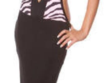 Women's Sexy Black and Pink Zebra Print Gown Dress , Glamorous Gown, Sexy Gown, Evening Gown, Halter Dresses, Elegant Dresses, Free Thong