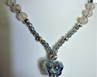 Blue Crystal Skull Necklace