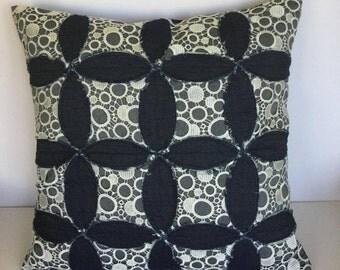 Hand appliqued patchwork decorative pillow