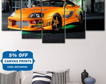 Home decoration, Need For Speed, Car Sport Wall Art ,Car Large Canvas ,Car Print Decor, Speed car, super speed art, Yellow car,