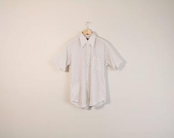 60s Print Shirt, Vintage 1960s Shirt, Retro 60s Mens Shirt, Collared Short Sleeve Button Up Shirt, Polka Dot Shirt, 60s Boyfriend Shirt