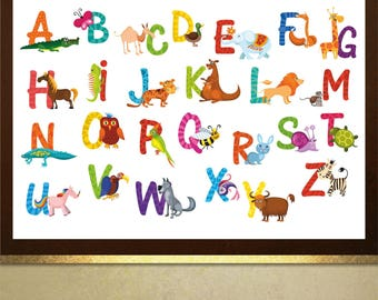 Animal alphabet poster print Wall Art in 4 sizes