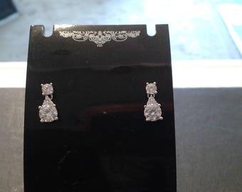 pear shaped solid cz drop earrings
