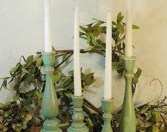 Candlestick set, Wedding Candle,Farmhouse Candles, Shabby Chic Decor, Housewarming gift, Wood Candle sticks,Rustic candlestick, Candle stick